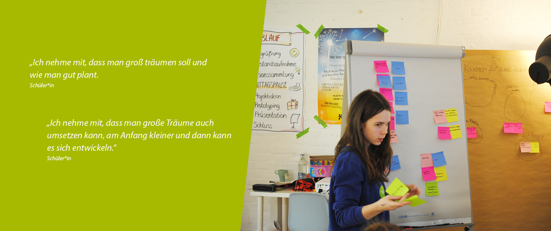 Nachgefragt Hoch Drei - Schülerin beim Design Thinking Workshop